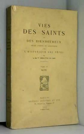 Vie des saints et des...