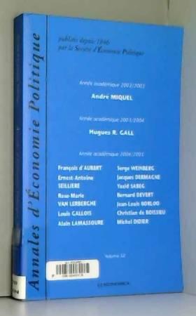 Annales Eco Pol - Annales d'Economie Politique Volume 52