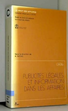A. Sayag - Publicités légales et information dans les affaires